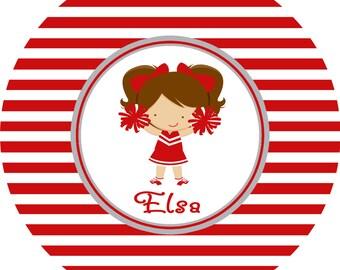 Personalized Cheerleader Plate Cheer Melamine Plate Custom Cheerleader Plate Kids Table
