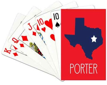 Texas State Deck of Cards Personalized Playing Cards Custom Poker Cards Personalized Card Deck All States Available Choose Colors