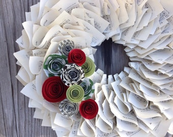 """Christmas Wreath, Holiday Wreath, Music Wreath, Paper Wreath with Red, Green & Black Paper Flowers 18"""""""