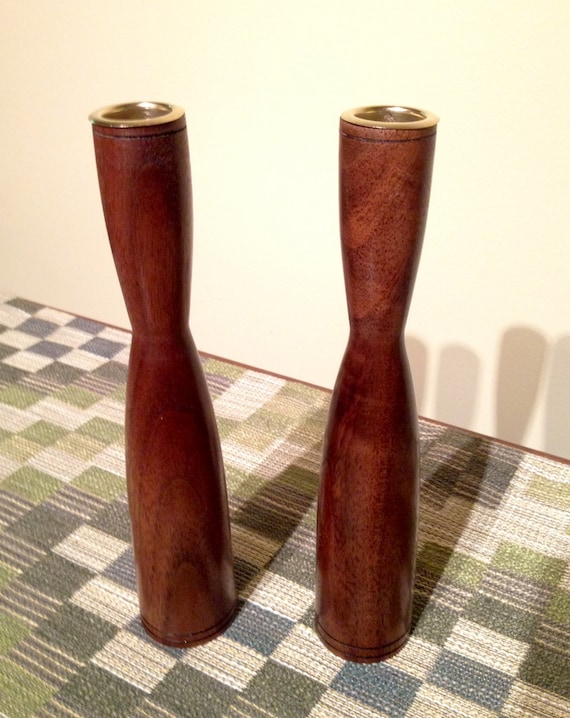 Wood Candle Holder Set / Black Walnut Candle Holder / Wood Candlestick Set