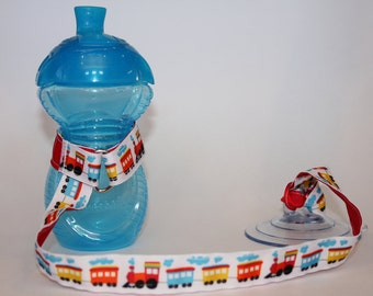 Sippy Cup Leash | Sippy Strap | Sippy Cup Strap Suction Cup | Bottle Tether | Sippy Cup Strap | Suction Sippy Strap | Choo Choo Train