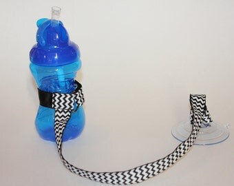 Sippy Cup Leash | Sippy Strap | Sippy Cup Strap Suction Cup | Bottle Tether | Sippy Cup Strap | Suction Sippy Strap | Black Chevron