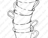 Digital Stamp, Coloring Page, Stack of Teacups, Freehand, Commercial Use, Dishes, Kitchen, jpg and png files, Instant Download