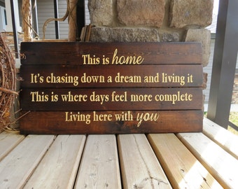 Home Decor Wood Sign - Description of home and love, Rustic, Distressed, Country, Wood Plank