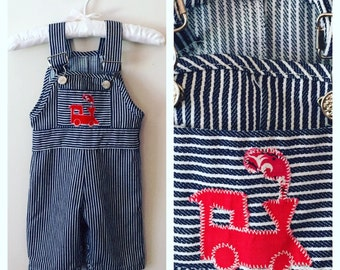 80s Striped Denim Train Overalls, Size 0 to 3 Months