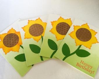 Set of 4 Handmade Sunflower cards: Yellow flowers - Birthday cards -  flower cards - hand stamped - Wcards