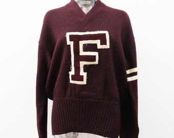 """1920s Varsity Sweater """"F"""" Initial is a Wool Maroon"""
