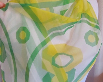 """Lovely White Green Yellow Soft Sheer Scarf 11"""" x 50"""" Long - Affordable Scarves!!!"""