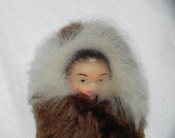 Miniature Eskimo Baby Rabbit Fur Figurine Made in Germany