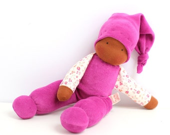 cuddle doll/purple, 13 inch, organic doll, soft doll, waldorf doll, steiner doll,