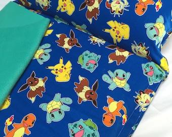 "Nap Mat Pokemon Preschool Toddler Kindergarten Daycare Teal Blanket Pillow Cover Kindermat Bedding Sleeping Bag School Monogram 20"" x 49"""
