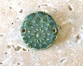 Handmade stoneware pendant/connector, ammonite pendant