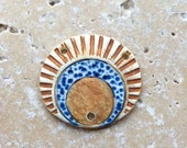 Abstract sun and moon pendant, stoneware pendant, hand carved pendant