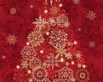 Northcott Red Christmas Tree panel. Metallic .