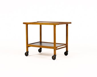 Danish Modern / Mid Century Teak Bar Cart / Tea Trolley — Removable serving trays