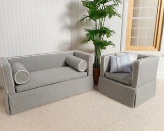 Miniature Loveseat and chair in 1:12 scale