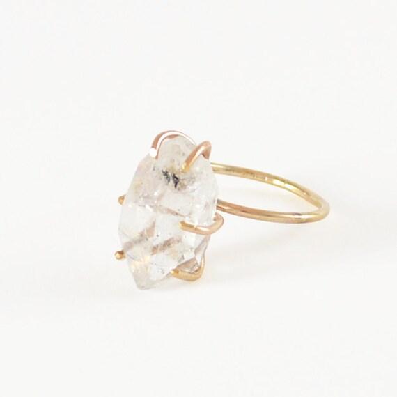 Herkimer Diamond Ring, Engagement Ring, Raw Crystal Ring, 14kt Gold Fill Ring, Sterling Silver Ring, Quartz Ring, Rough Gemstone Ring