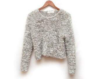 90s Gray Fuzzy Furry Sweater Women's Small