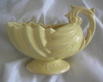 McCOY Handled Yellow Vase Pitcher | Signed McCoy | Vintage Mid Century