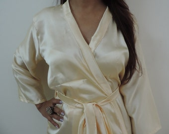 Code: H-14 Satin Solid Color Kimono Crossover patterned Robe Wrap - Bridesmaids gift, getting ready robes, Bridal shower favors, baby shower