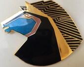 Vintage Laurel Burch Wild Stallion Brooch Pendant Combination Modernist Retro Enameled Horse Pin