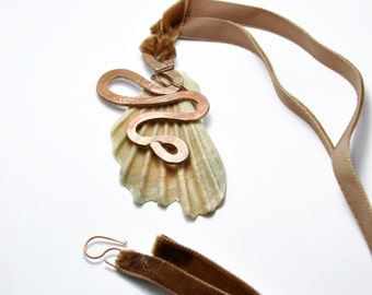 Copper and real sea shell necklace