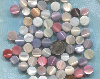Group of 65 Vintage Mother of Pearl Buttons-(V119)