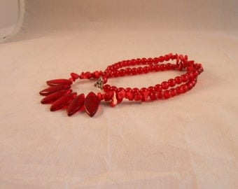 Red coral and glass bead necklace,glass dagger statement necklace,red coral statement necklace