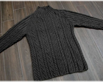 """Qiviut Sweater for men or women """"Whistler Mountain"""", hand knit (under down of muskox) with cables and turtle neck MADE TO ORDER"""