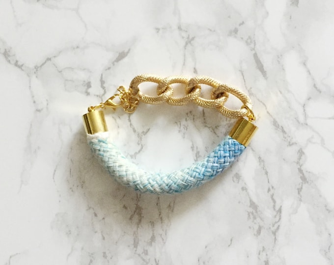 Ombre Blue Rope & Chain Bracelet