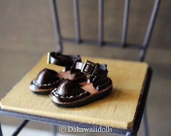 Blythe Doll / Hand made Leather shoes / Sandal/ espresso