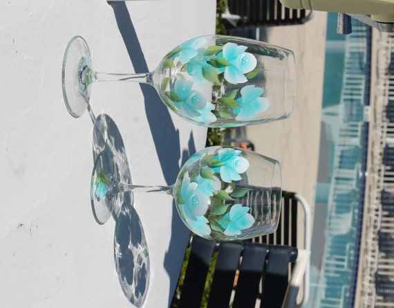 Hand painted acrylic wine glasses set of 2 by for Acrylic paint on wine glasses