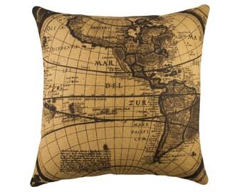 Burlap Map Pillow, Industrial Map Decor