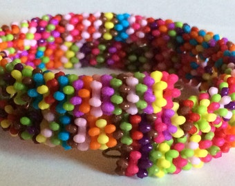 "Colorful ""Plastica"" Beaded Memory Wire Bracelet"