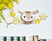 brown owl woodland mobile, baby owl sculpture