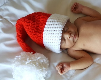 Christmas Baby Santa Hat,  Crochet Santa Hat Baby Christmas, Xmas Baby Hat