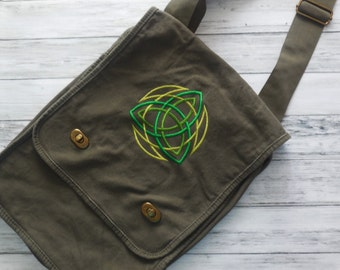 Embroidered Messenger Bag Celtic Knot Design - Green Shoulder Bag