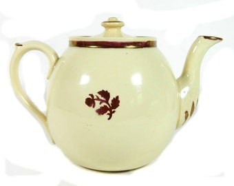 19th C Antique Evan & Malkin Burslem Teapot with Copper Luster Trim