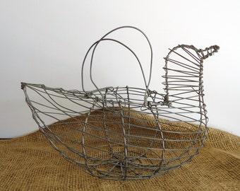 Chicken basket, egg basket,  vintage wire basket, farmhouse kitchen decor, hen