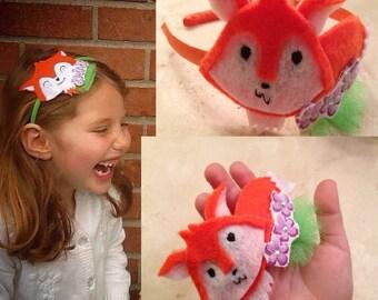 Pretty fox with flowers headband, wool felt