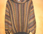 WoMeNs EarTHToNe STriPeD CowL NecK BaTWinG LooSe KniT PuLLoVeR SWeaTeR M / L