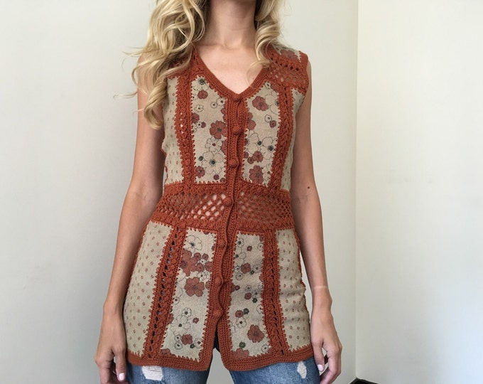 Vintage Knit Suede Boho Top