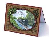 Christmas train holiday card, vintage locomotive, Masculine Merry Christmas card, engine
