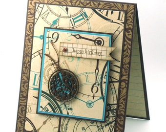 birthday card for men, pocket watch, clocks and gears, vintage style turquoise and brown blank card