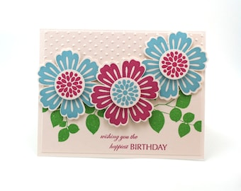 Floral Happy Birthday card, Blue Red Flower garden 3d blank card