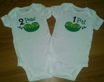 2 Peas and 1 Pod Design - TWIN Onesies - Set of TWO Onesies