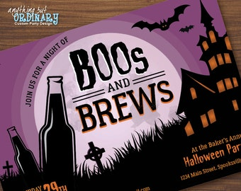 Boos and Brews Halloween Invitation, Printable Adult Halloween Party Invite, DIY digital file