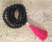 Black agate 108 mala beads with hot pink tassel; meditation beads; yoga beads; mala beads