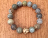 SALE Gray Agate and Rose Gold 12mm round beaded bracelet