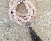 Rose quartz mala with pearls and gray tassel. Tassel necklace. 108 mala beads